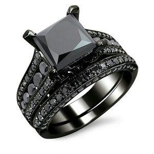 *NEW Princess Cut Black Sapphire 925 Silver Ring